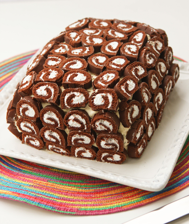 Frozen Swiss Cake Roll Ice Cream Sandwich Cake Recipe