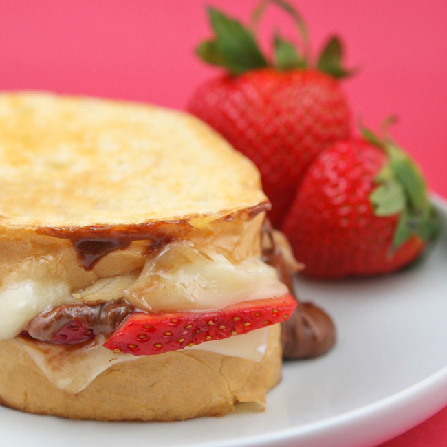 Fudgy Strawberry Brie Grilled Cheese Sandwich