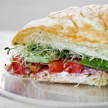 Veggie and Salami Croissant Sandwich