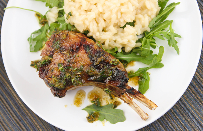 Grilled lamb chops with Meyer lemon risotto and arugula...and a ...