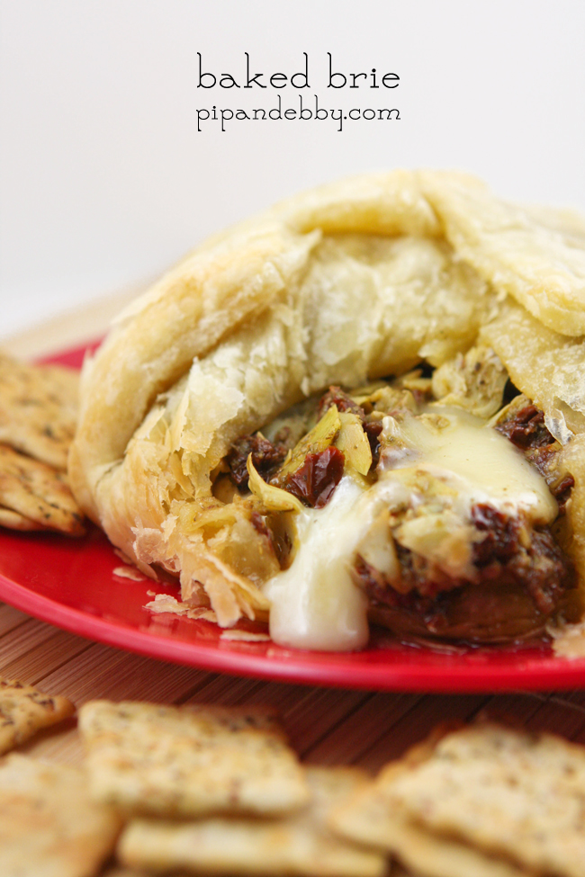 Baked Brie with Artichokes, Sun-dried Tomatoes and Pesto — Pip and ...