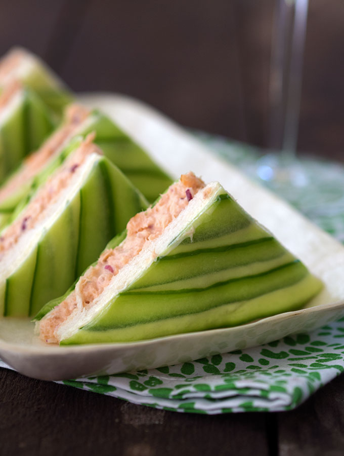 Salmon and Cucumber-Sandwiches