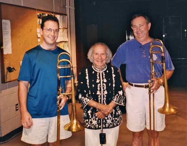 With my dad, Jimmy Clark, and Dr. Frederick Fennel, at a Dallas Wind Symphony recording session, 1999