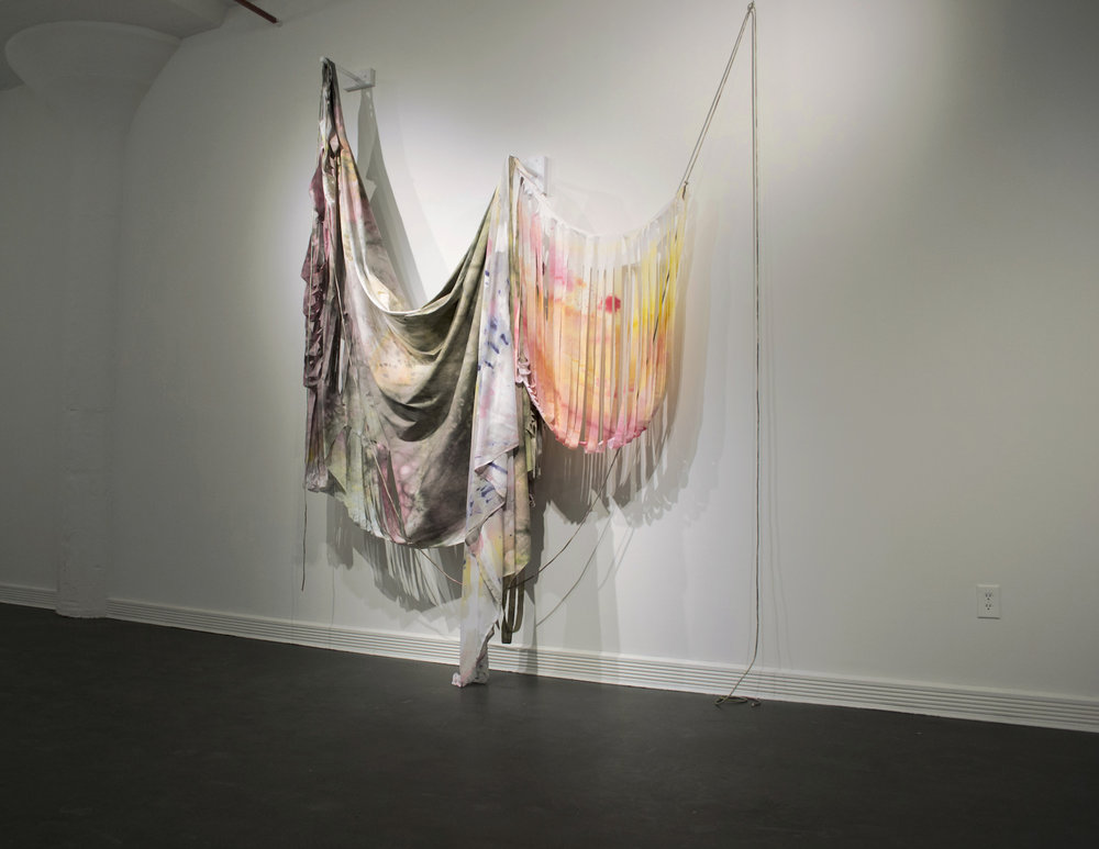 "Perceptual studies,  synthetic and natural dye on cotton, linen, and silk, 6' x 5' x 12"", 2017.  Installation view at Sweet Lorraine Gallery, Brooklyn NYC."