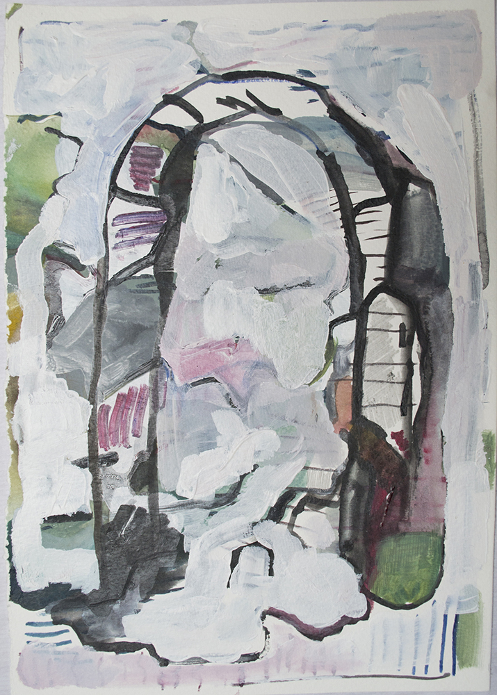 Archway/ home, 2017  acrylic and watercolour on paper 11.75 x 8.25 inches  $60.00
