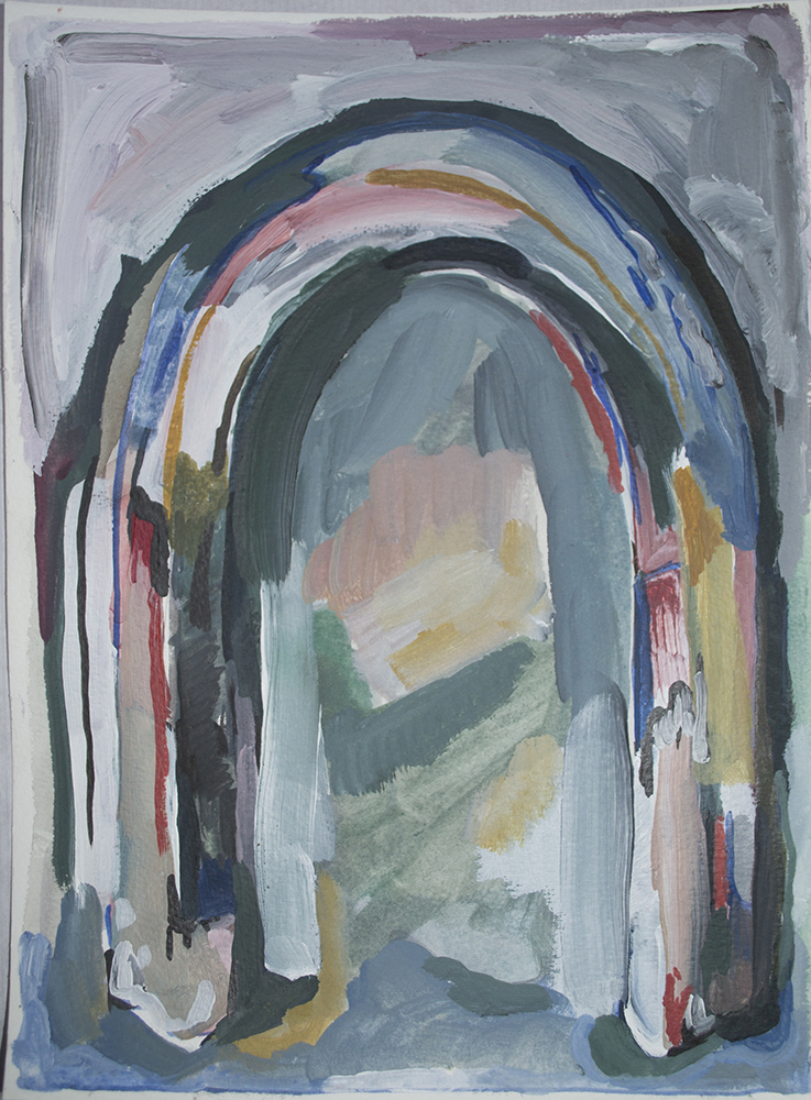 Archway, 2017  acrylic and watercolour on paper 11.75 x 8.25 inches  $60.00