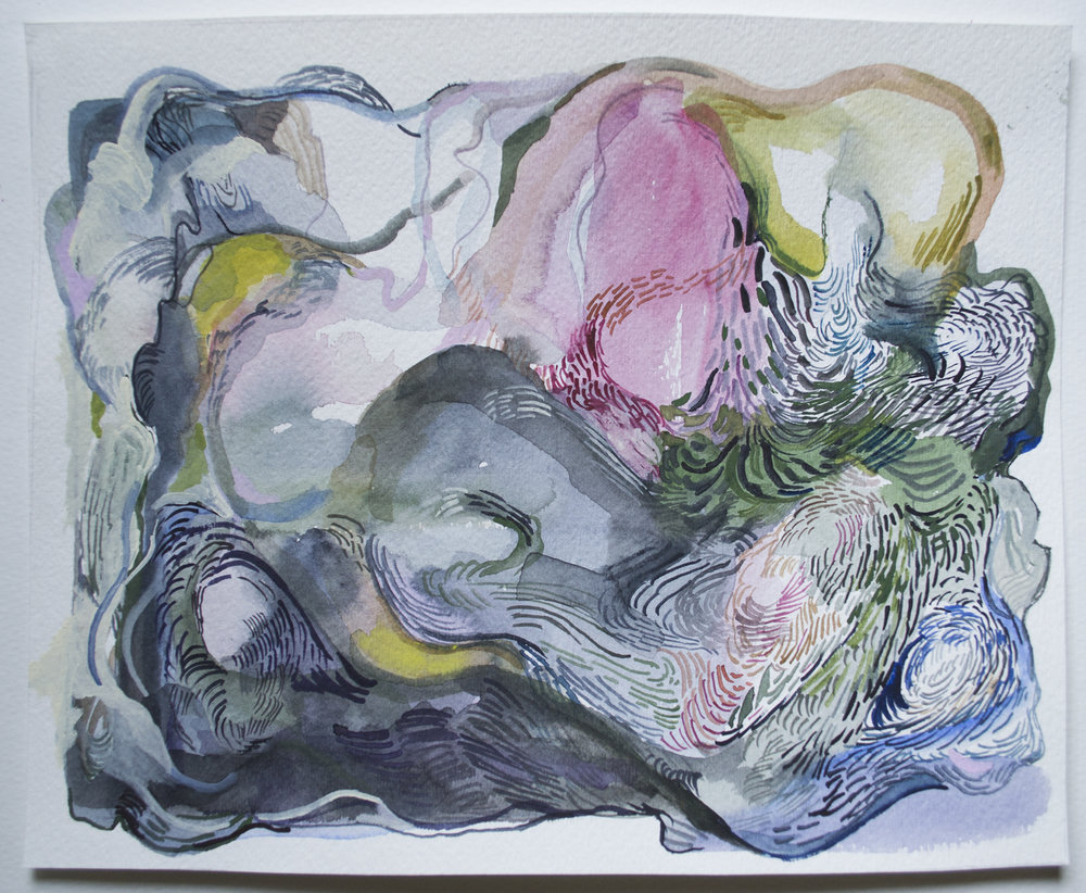 The waves (word of mouth),  watercolour on paper, 11 x 9.25 inches (2018)