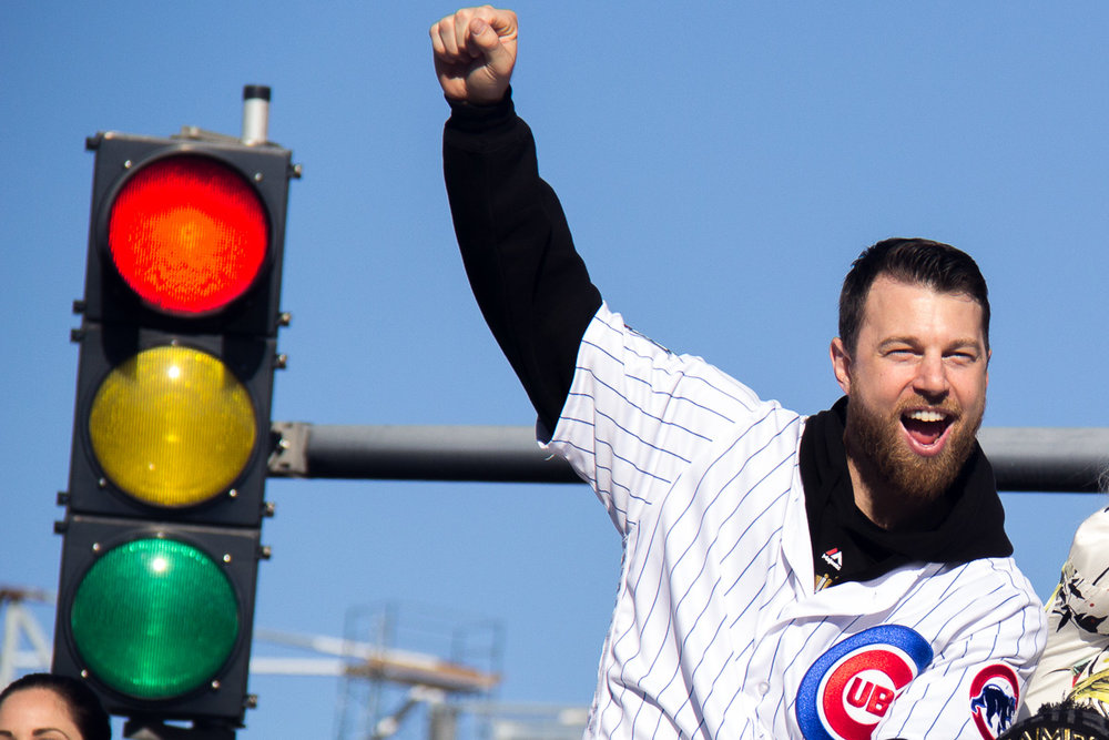 World Series MVP Ben Zobrist celebrates the Chicago Cubs' World Series victory.