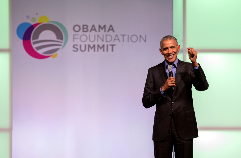 President Barack Obama speaking at the Obama Foundation Summit in November 2017.