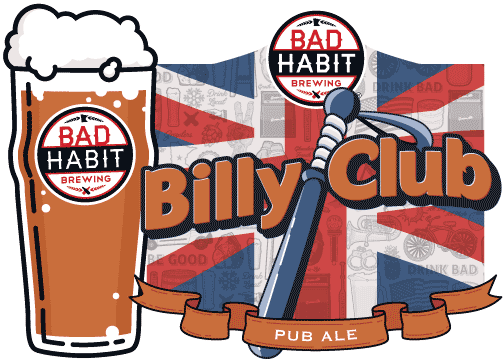 BILLY CLUB - English Pub Ale | 5.1% ABVElloh Govnah! Haven't had your passport updated in a while? Let us help transport your taste buds across the big pond. We're not talking tea and crumpets here, our Pub Ale is a soulful English pub ale authentically brewed with English hops, English maris otter malt and finished with an English ale yeast strain. Our Pub Ale is a welcomed departure from your normal palate grind, offering a flavorful hop backbone, malty aroma and an extremely smooth, slightly bitter finish. Wha we ave ere is a proper malty-rich English Pub Ale.