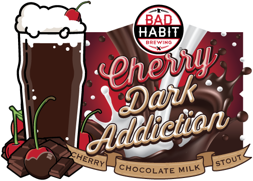 CHERRYDARK ADDICTION - Cherry Infused Chocolate Milk Stout | 5.2% ABVWe infused our intensely dark, silky smooth chocolatey goodness known as Dark Addiction with cherries from Door County, Wisconsin.