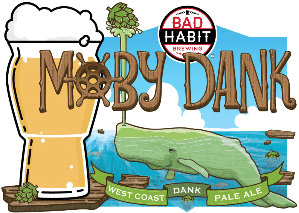 MOBY DANK - West Coast Dank Pale Ale | 5% ABVThere She flows! This whale of a pale ale is brewed with 4 varieties of hops. It is then dry hopped with those same kinds of hops giving this beer a monster dankness you'll want to pour down your blow hole.