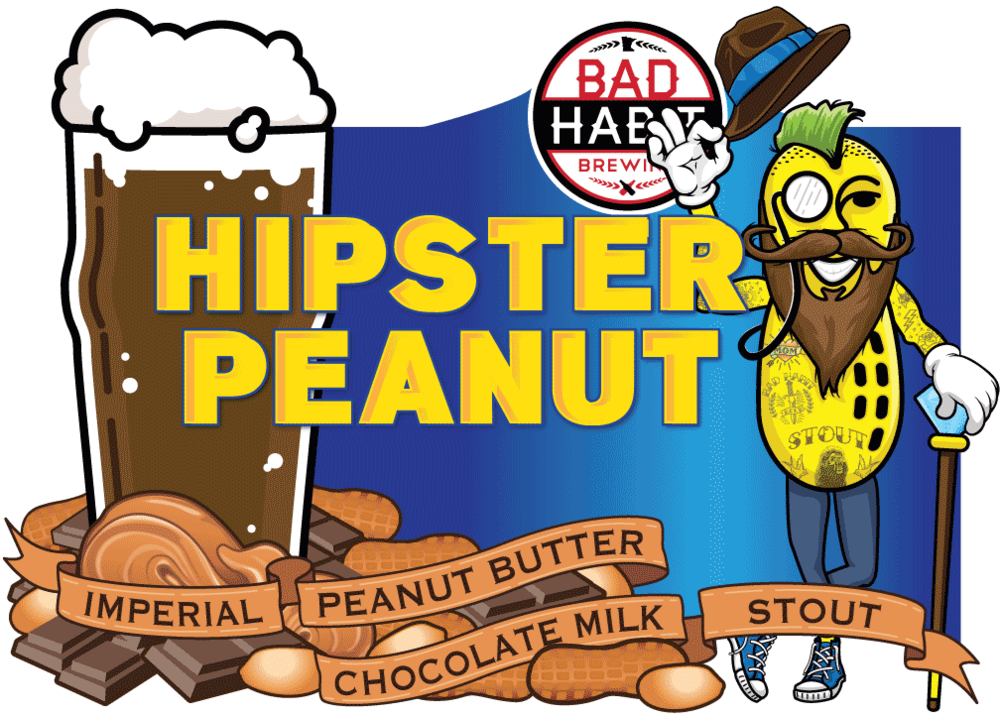 HIPSTERPEANUT - Imperial Peanut Butter Chocolate Milk Stout | 9.5% ABVBrewed with our good friend Damien of the Beer People, this is without a doubt our trendiest beer. It has all the crazy trends the youngsters are into these days. It has peanutbutter, it has lactose, it has chocolate, it is an imperial and it is a stout. It is as dark as a brand new tattoo and as smooth as a freshly oiled beard. Get one before everyone else finds out about it.