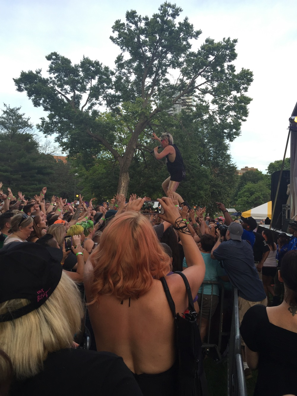 Peaches crowdwalking. That's right, she WALKED on their hands!
