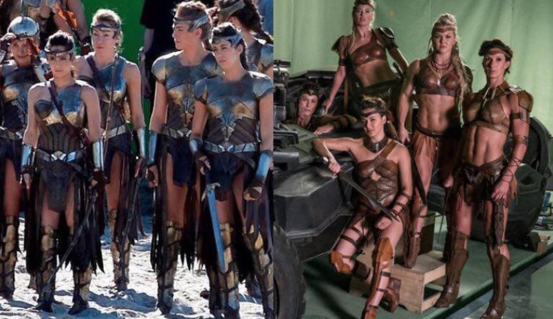 "Left: The Amazons in ""Wonder Woman"" / Right: The Amazons on the set of ""Justice League""   There was some pre-release controversy over their reduced clothing in the photo on the right, but the change was not evident in the final cut of ""Justice League.""   Warner Bros."