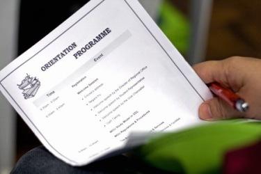 Orientation Programme sheet.