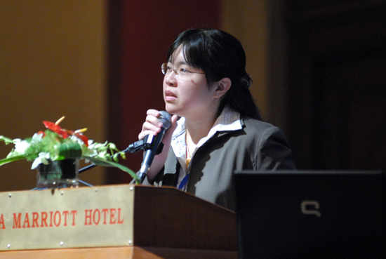 Teoh Ai Ping presenting her award winning paper.