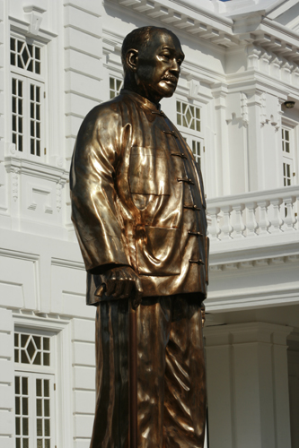 "The grand copper statue of the ""Grand Old Man of Penang"" unveiled."