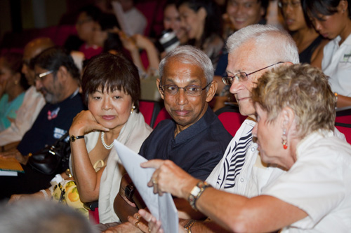 Prof Dhanarajan and wife, Puan Sri Sue, at the play.