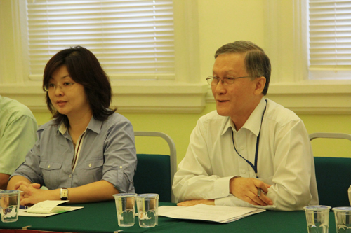 Prof Ho announces the upcoming forum to the Press. At right is Rowena Yam.