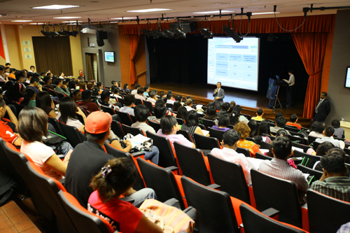 Welcoming the new students at the main campus in Penang.