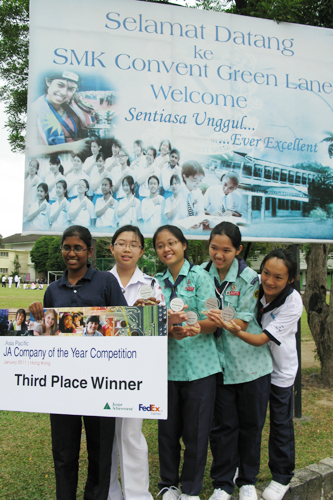 The students pose with their prize at the school premises.
