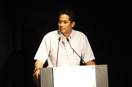 Khairy addresses the crowd during the talk at the WOU main campus.