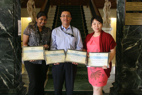 Winners (from left) - Rina Julian, Mohd Shuib and Angie Ng.