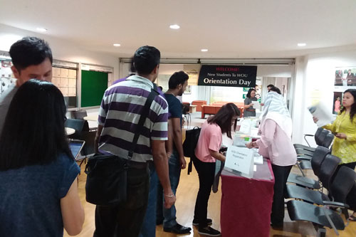 Students registering for orientation at the Kuala Lumpur Regional Centre.