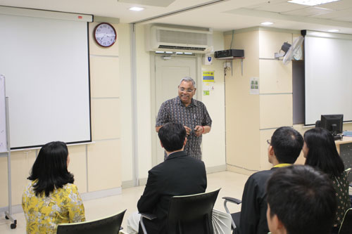 Prof Santhiram encourages the students to keep practising their English.