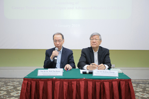Dr Koh (left) addresses the press conference as Tan Sri Andrew Sheng looks on.