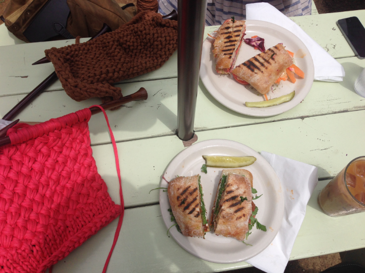Knitting at Lunch