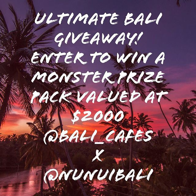 G I V E A W A Y ⚡️ T I M E 🎁  We've teamed up with @bali_cafes, who put together an ultimate Bali GIVEAWAY for you and your travel bestie valued at $2000USD.  CONDITIONS OF ENTRY: You must follow @bali_cafes & @nunuibali (we'll check 😉) Tag your bestie in the comments bellow. You can enter as many times as you want, but with different besties. Each comment is an entry, so the more different friends you tag in separate comments, the higher your chances of winning! Winner will be drawn and announced on WEDNESDAY the 13th of June via INSTA STORIES and contacted via DM by @bali_cafes  Enter for a chance to WIN: *5 nights stay at a luxurious villa PAWAN in the Bukit by @balivily *Café vouchers: @thecashewtree IDR 500k @sproutbali IDR 500k @Hoipolloibali IDR 500k @sacredgroundbali IDR 500 @MilkandMadu IDR 500k  @Watercressbali IDR 500k  @Ulekanbali IDR 500k *SPA&BEAUTY: @bronzspa - treatment package valued at IDR 1mio *SHOPPING: @nunuibali - online voucher valued up to 150$ USD - one set of cheeky bikinis & 1 Yoga Wear Set (top & bottom of your choice) @xo_active - IDR 1 mio voucher to be spent at their Canggu store  @spirit_beads - online voucher for 5 mineral stone bracelets valued at $175 USD of your choice made in Bali with love  Terms & conditions apply: *Vouchers cannot be exchanged for cash and are valid thru 2018. *Vila Pawan is subject to availability.  Good luck Bali lovers & Happy tagging!