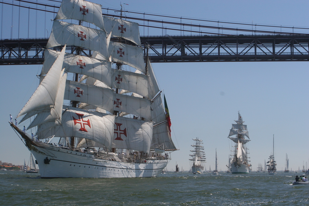The SAGRES Ship in the Parade of Sail during The Tall Ships Races 2006 in Lisbon