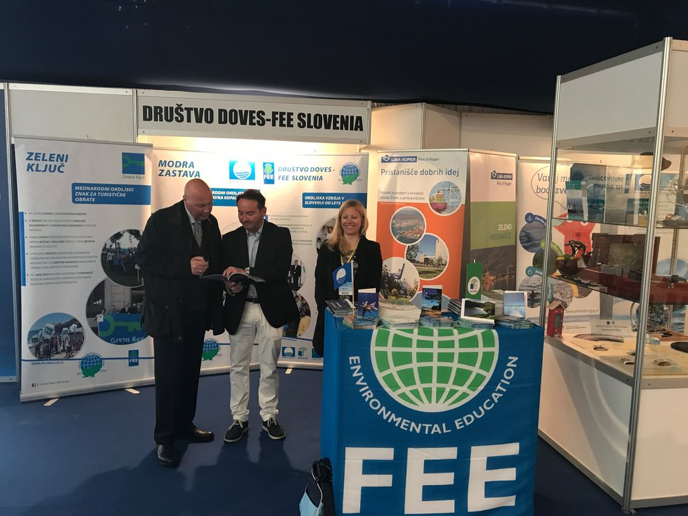 Društvo DOVES-FEE Slovenia's boot at Internautica Boat Show 2017 and Mr. Roberto Perocchio, Chairman of ICOMIA Marina Group, Mr. Fiorenzo Lupieri, President of Društvo DOVES-FEE Slovenia and Milena Lukić, National Green Key operator