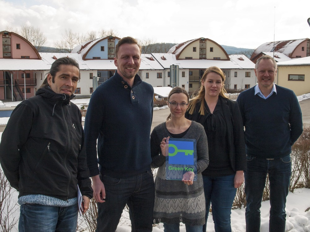 From Left: Robert Lorenz (German Green Key national operator), Václav Hobora (General Manager of Landal Marina Lipno), Alena Alova (Front Office Manager of Landal Marina Lipno), Anne Glas (Sustainability and CSR officer of Landal GreenParks) and Finn Bolding Thomsen (International Director of Green Key)