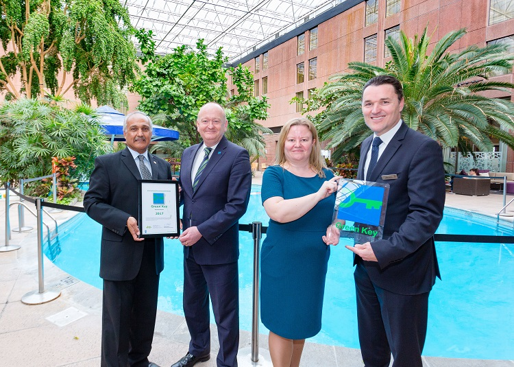 Mohamed Rahemanji (Chief Engineer, Sheraton Skyline), Paul Todd (Accreditations Manager, Keep Britain Tidy), Lynsey Atherton (Green Key National Operator, Keep Britain Tidy), Thierry Henrot (General Manager, Sheraton Skyline)