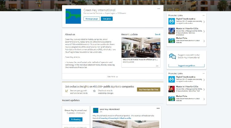 New Green Key page on LinkedIn