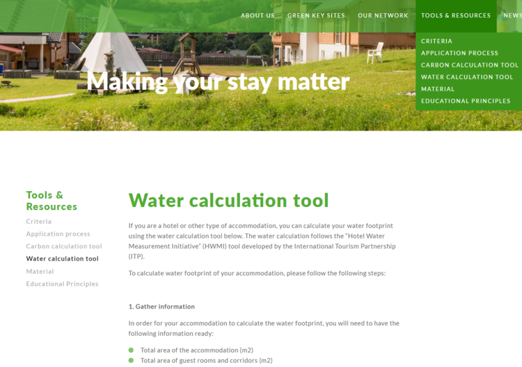Free water footprint tool available on Green Key's website