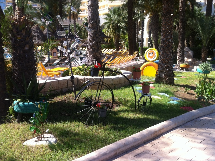 Riadh Palms Hotel in Tunisia brightens gardens with recycled waste