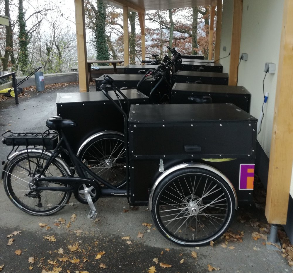 "So called ""Christiania Bikes"" with electric motors are used for the housekeeping in two of the ten parks in Germany"