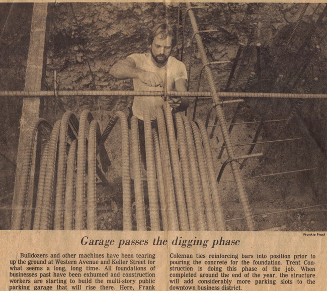 Owner, Frank Coleman, seen in the photo below tying large rebar, while preparing to pour massive concrete footings for a public parking garage in Petaluma circa 1985 - courtesy Argus-Petaluma paper.