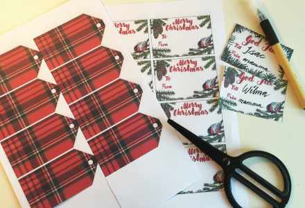 1. Download the pdf you want to use. 2. Print selected or all 3 pages. 3. Cut out the labels/tags. 4. Punch a hole in the plaid tag to attach with string. 5. Glue or tape the other two tags to the box/gift wrap.