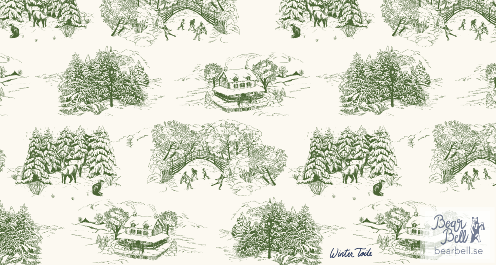 Here's a classic design version - the scenes arranged together with a lot of spacing in between but still working well together. First I tried with a cream colored background and drawings in deep green. I also tried them i a light red and a dark, dark blue.