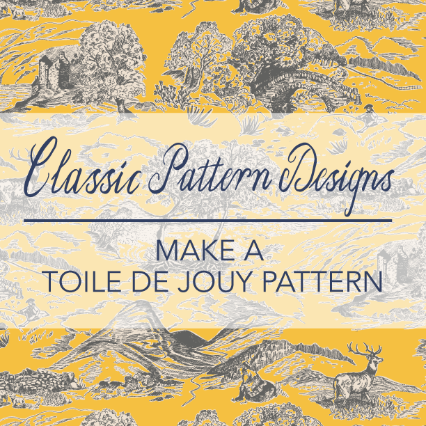Classic Pattern Designs - Make a Toile de Jouy pattern In this course I unveil the mysteries of making the very popular, decorative but complex pattern design called Toile de Jouy and teach how to create one yourself - from start to finish. To the course >>