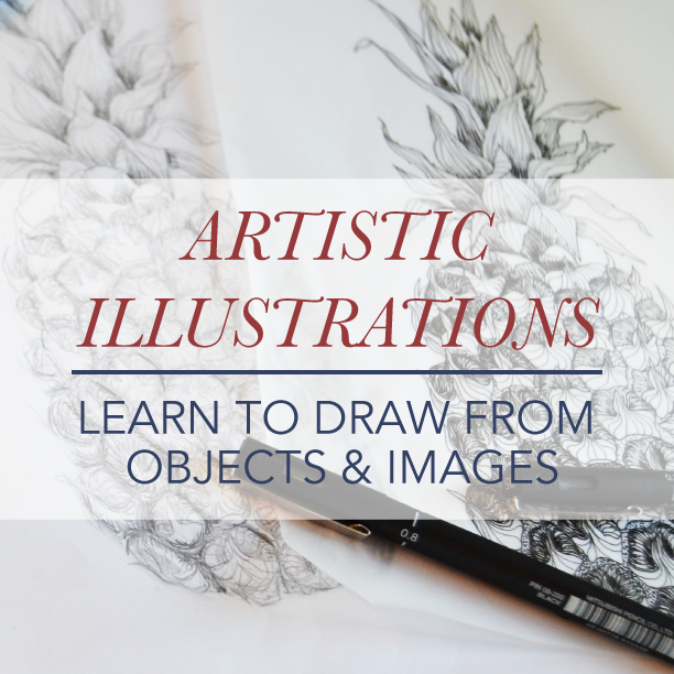 Artistic Illustrations - Learn to draw from objects & images This course is about  how to create illustrations from scrathc - by sketching and drawing your motif from an object or image and turn it into a vectorized and printable illustration in Adobe Illustrator. I teach the fundamentals and anyone can attend! To the course >>