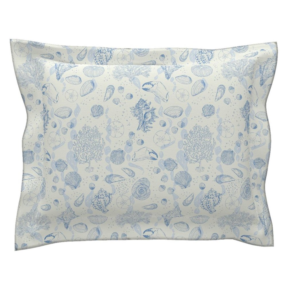 sea toile ocean blue pillow sham - To the Roostery shop >>
