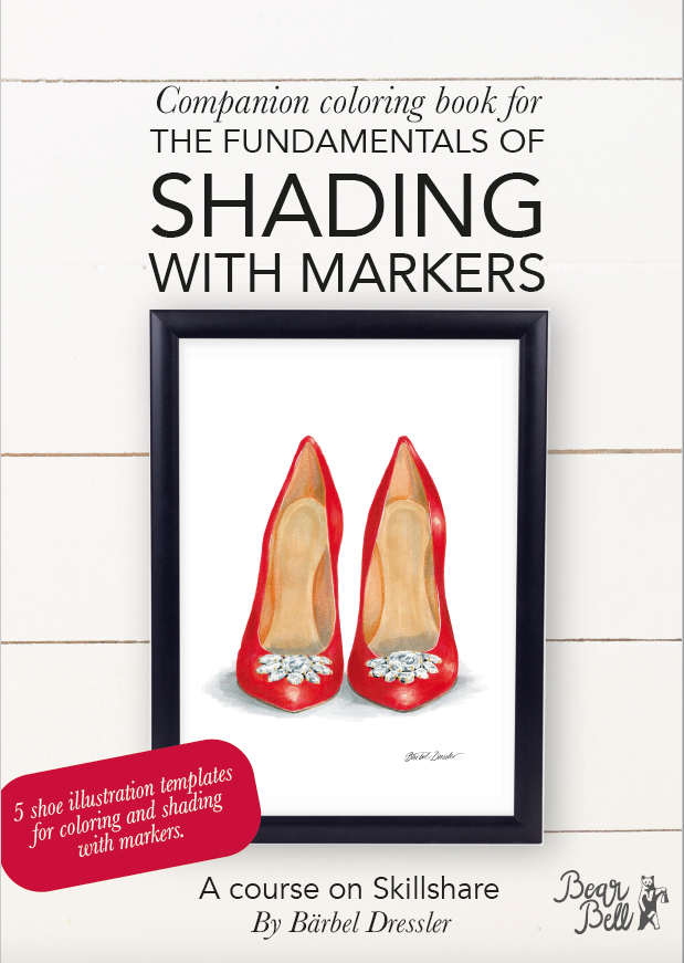 Freebie eBook full of shoe illustrations for coloring with markers.