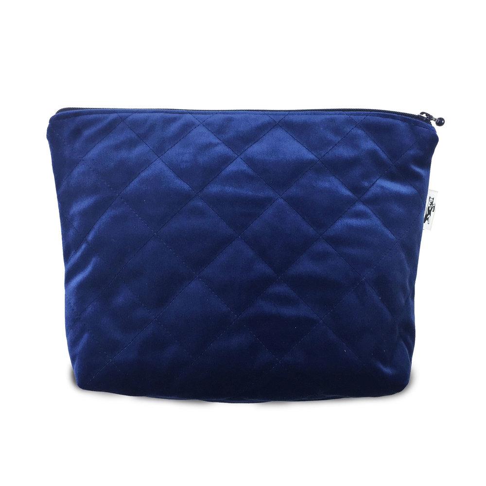 LOW STOCK ALERT!QUILTED BLUE VELVET MAKEUP BAG - Order here >>