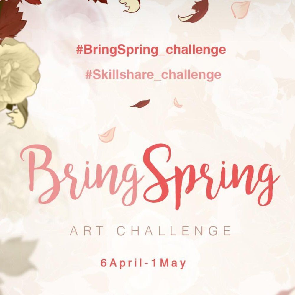 I collaborated with 4 other Top Teachers on Skillshare - Anna Sokolova, Irina Trzaskos, Marie Noëlle Wurm and Julia Henze - to inspire and help our students and followers to get those creative juices in a Bring Spring Instagram art challenge that inspired had hundreds of participants and inspired to even more art pieces around the world.